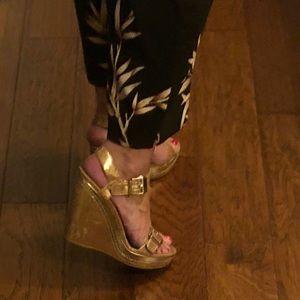 Stuart Weitzman Gold Wedge Sandals